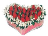 Konya kaliteli taze ve ucuz çiçekler  mika kalpte kirmizi güller 9