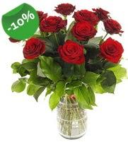 11 adet vazo içerisinde kırmızı gül  Konya çiçek , çiçekçi , çiçekçilik