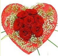 Mika kalp içerisinde 7 adet kırmızı gül  Konya İnternetten çiçek siparişi
