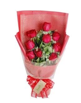 9 adet kırmızı gülden görsel buket  Konya online çiçekçi , çiçek siparişi