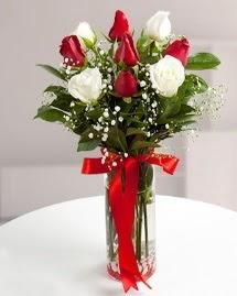 5 kırmızı 4 beyaz gül vazoda  Konya hediye çiçek yolla
