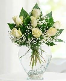 Cam içerisinde 7 adet beyaz gül  Konya hediye çiçek yolla