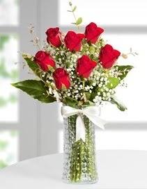 Cam vazoda 7 adet kırmızı gül  Konya yurtiçi ve yurtdışı çiçek siparişi
