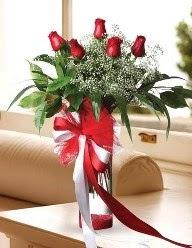 Camda 5 kırmızı gül tanzimi  Konya kaliteli taze ve ucuz çiçekler