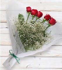5 kırmızı gülden sade buket  Konya çiçek servisi , çiçekçi adresleri