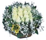 Konya çiçek gönderme  Beyaz harika bir gül sepeti