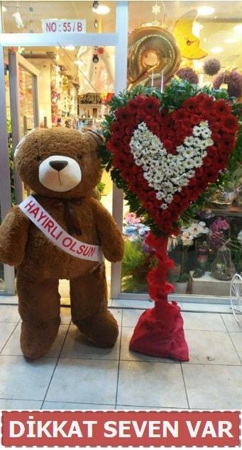 1.5 Metre peluş ayı ve Kalp  Konya çiçek online çiçek siparişi