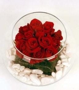 Cam fanusta 11 adet kırmızı gül  Konya çiçek mağazası , çiçekçi adresleri