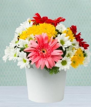 Seramik Vazoda Gelbera ve Papatya  Konya çiçek mağazası , çiçekçi adresleri