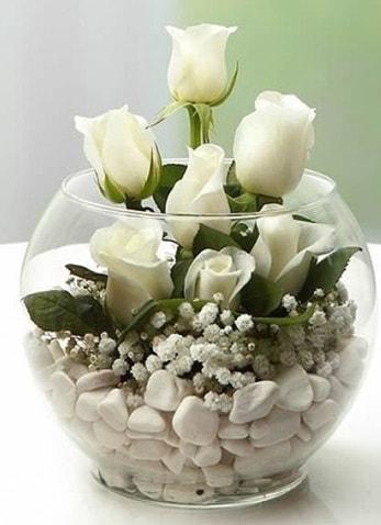 Beyaz Mutluluk 9 beyaz gül fanusta  Konya çiçek gönderme sitemiz güvenlidir