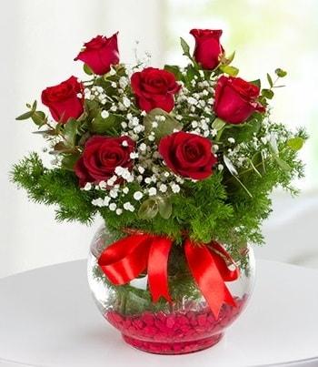 fanus Vazoda 7 Gül  Konya yurtiçi ve yurtdışı çiçek siparişi