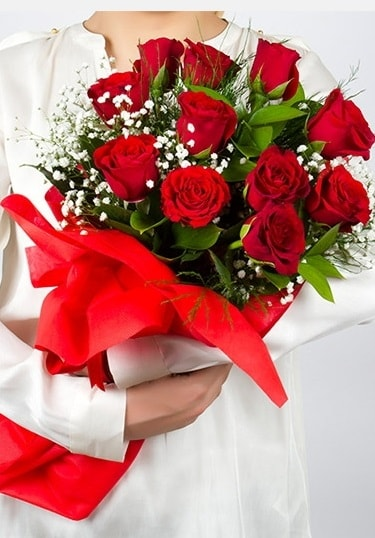 Aşk Gülleri 11 Adet kırmızı gül buketi  Konya kaliteli taze ve ucuz çiçekler