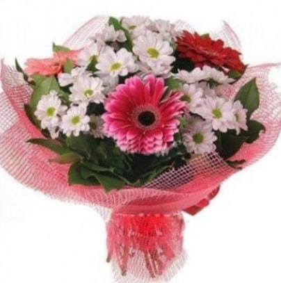 Gerbera ve kır çiçekleri buketi  Konya çiçekçi telefonları