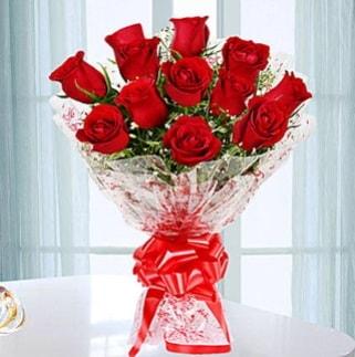11 adet kırmızı gülden görsel şık buket  Konya online çiçekçi , çiçek siparişi