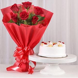 6 Kırmızı gül ve 4 kişilik yaş pasta  Konya yurtiçi ve yurtdışı çiçek siparişi