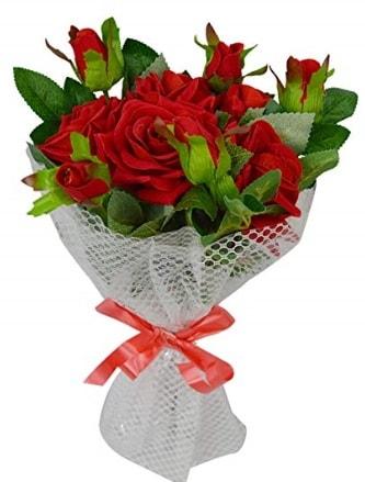 9 adet kırmızı gülden sade şık buket  Konya kaliteli taze ve ucuz çiçekler