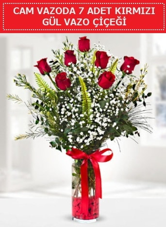 Cam vazoda 7 adet kırmızı gül çiçeği  Konya çiçek online çiçek siparişi