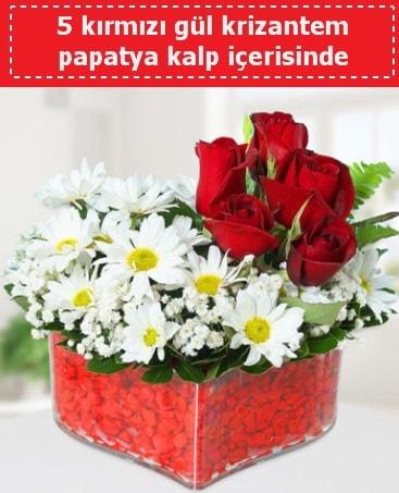 mika kalp içerisinde 5 kırmızı gül papatya  Konya çiçek mağazası , çiçekçi adresleri