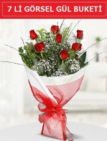 7 adet kırmızı gül buketi Aşk budur  Konya güvenli kaliteli hızlı çiçek