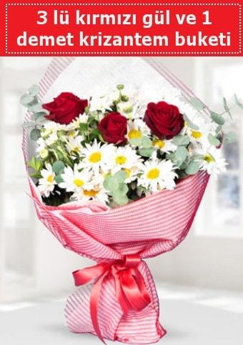 3 adet kırmızı gül ve krizantem buketi  Konya çiçek online çiçek siparişi