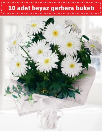 10 Adet beyaz gerbera buketi  Konya yurtiçi ve yurtdışı çiçek siparişi