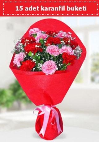 15 adet karanfilden hazırlanmış buket  Konya hediye çiçek yolla