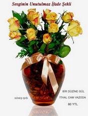 Konya çiçek yolla  mika yada Cam vazoda 12 adet sari gül